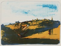Toledo at Nightfall, Burton Silverman, lithograph on Arches paper