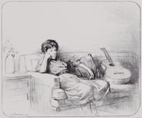 Lady with Guitar, Burton Silverman, lithograph