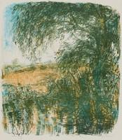 Landscape, Jane Wilson, crayon lithograph on BFK paper