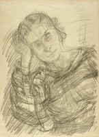 A sketch of a woman from the waist up. She looks forward and leans her head on her right hand.
