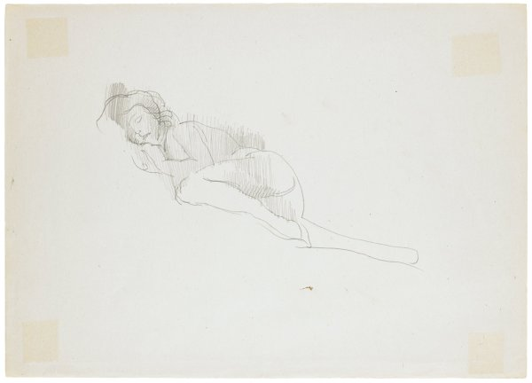 Sketch of a female figure laying on her right side. Her left leg is tucked into her chest as her right leg is outstretched.