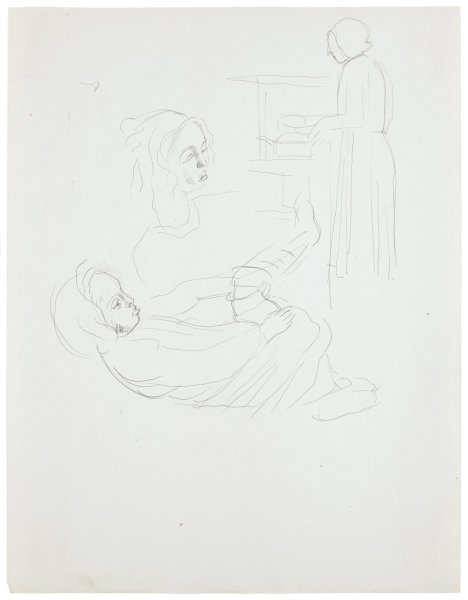 Sketch of three figures. The front figure lays on his back with his left leg raised. The middle figure looks towards the right. The third figure stands in the background over a kitchen stove.