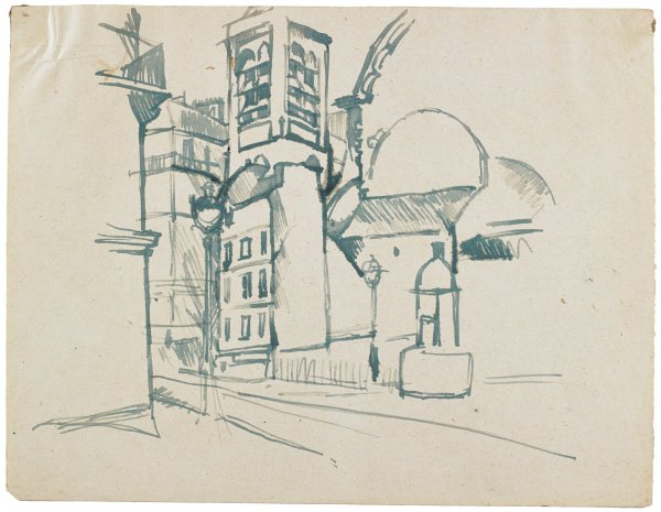 Sketch of a buildings, possibly a church structure, along a street.