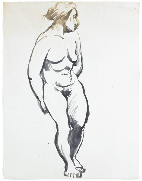 A nude woman stands leaning slightly left. She looks to the right and holds her arms behind her back.