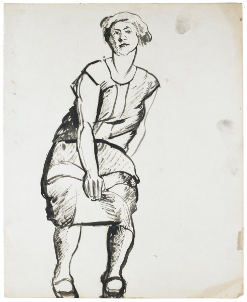 Drawing of a woman with short hair and a short sleeve dress. She leans slightly forward, and her right arm falls between her knees.