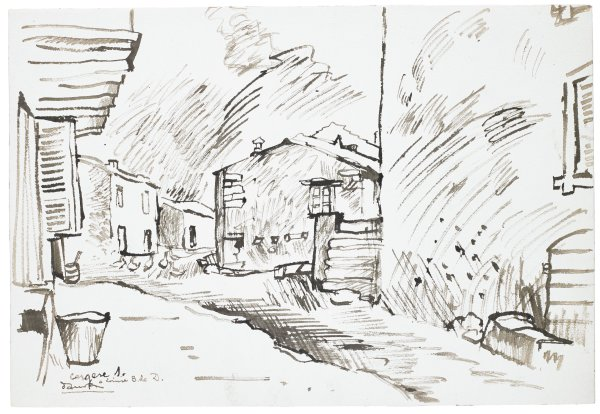 Sketch of a city. Multiple two-story buildings are seen along a wide street. Ducks or chickens are seen in the street in the background.
