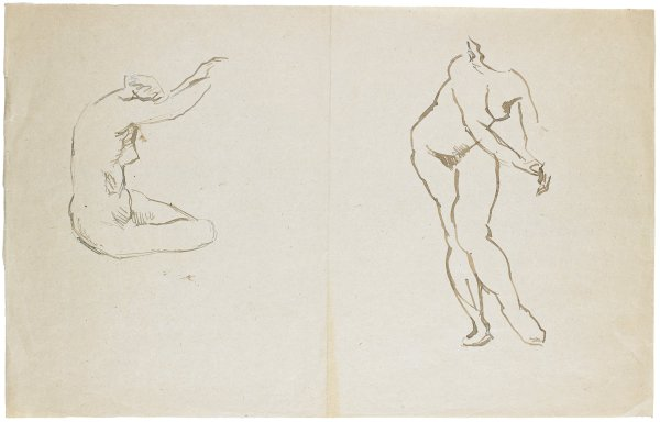 Two sketches of nude females. The figure on the left sits with her arms stretched upwards and her head titled down. The figure on the right stands leaning forward with her arms stretched out to the proper left.