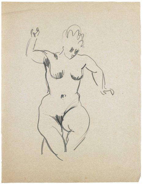 Sketch of a nude female. She faces front with her head slightly tilted downward. Her arms are stretched out in different directions.