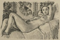 A nude woman with arms crossed behind her head reclines on a couch. Floral motifs decorated the wall behind her.