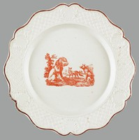 """Staffordshire transfer-printed salt-glazed stoneware scalloped plate, printed in red with a fable subject """"The Lion, the Fox, and the Wolf"""" within a diaper and cartouche molded border and brown-edged rim"""