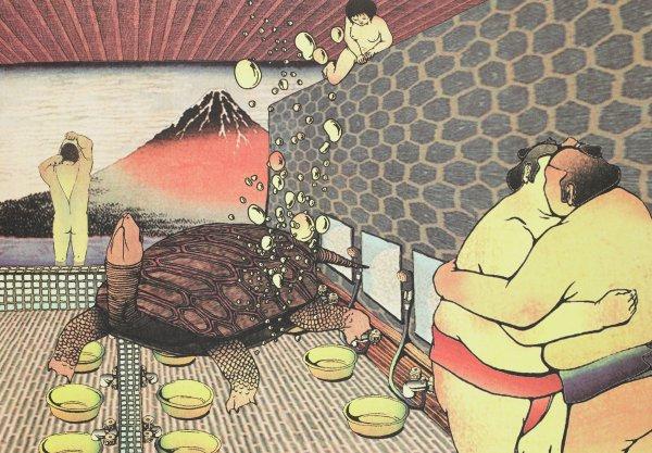 Men's Bathhouse, Tabaimo, lithograph