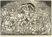 A central figure holds an ax above his head ready to strike. Flanking him on either side are groups of men marching towards each other with weapons raised. In the foreground, men lay dead on the ground. Standing over the dead bodies, two men engage in combat.