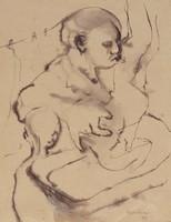 Figure folding laundry, John Lapsley, pen and black ink and black wash on paper