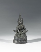 A seated Bodhisattva on an oblong lotus base with beaded borders, wearing an elaborately decorated robe with jewelry and crown. Holding a vajra ritual scepter in raised PR hand and a ghanta ritual bell in lowered PL hand.