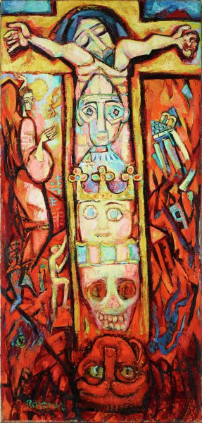 Christ crucified with three mask-like heads on vertical axis of cross. The top head wears a skull cap, the middle head wears a crown, and the bottom head is a skull. The cross is being consumed by a red demon enveloped by flames, suggestive of hell. The cross is flanked by an angel on the left, and the destruction of a temple on the right.