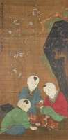 Mounted painting of three boys in a garden teasing an angry cat