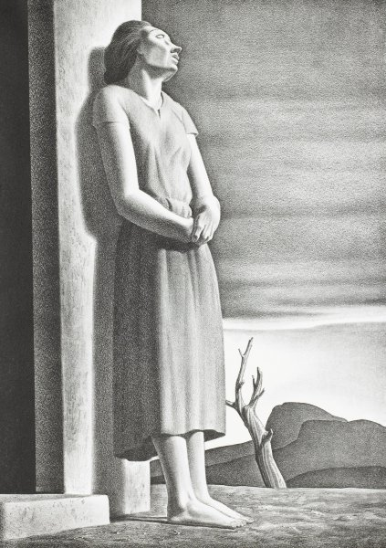 Emaciated woman standing barefoot beside the doorway of a house, facing right, gazing longingly toward the sky above a desolate landscape