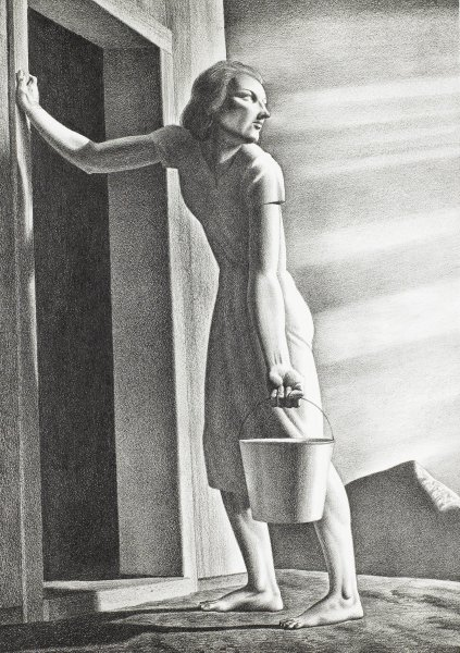Emaciated barefoot woman, carrying a pail, leans against the doorway of a house while she looks back at the setting sun; mountain in the background to the right