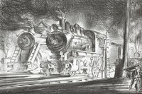 Two steam locomotives coming into rail yard from right with smoke billowing from stacks
