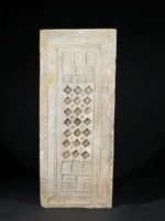 A large tomb tile with pierced impressed cross hatch designs with rows of mounted and standing archers, fish and cranes
