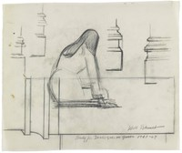 View from behind of a long-haired, seated woman; four drawings of partial architectural elements