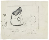 Rectangle in center of paper. Inside, the rear view of a seated, long-haired woman. Sketches of feline heads on both sides of figure.