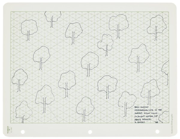 Nineteen lines drawing/stylized trees in black ink arranged randomly in printed area of isometric-orthographic paper.