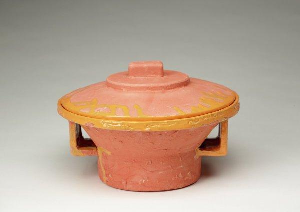 Lidded Speaker Vessel, Steve Keister, glazed and fired clay