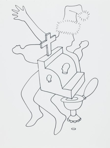A line drawing in black (felt tip?) pen ink of a figure with arm in air wearing a hat, a form with a cross on top, and a toilet.