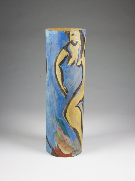 Ceramic cylinder, painted with female nude.