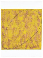 Abstract format with two-color (dark reddish-purple and dark yellow) acrylic paint background brushed or loosely rolled within a stenciled square on the paper. An oval in black oil crayon drawn over painted ground, angled from lower left to upper right.