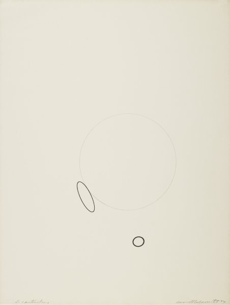 Pencil drawing of a circle near the center of the paper with an oval to the left, with an edge just touching an edge of the circle. A second circle drawn in ink with a thicker line is just below the circle and oval.