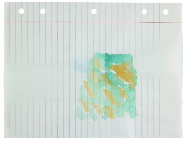 Polychrome (yellow, green, blue) watercolor applied in abstract forms to center of paper, gray rays