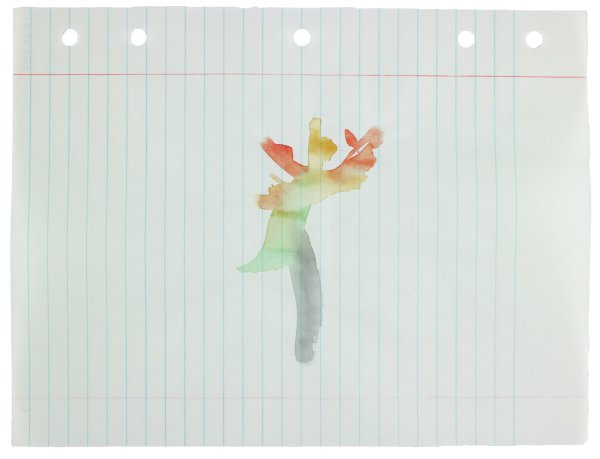 Polychrome (yellow, orange, green, gray) abstract forms in watercolor applied to center of paper; gray rays on one side