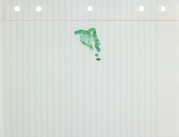 Polychrome (green and blue) in abstract form applied to center of paper