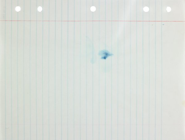 Blue abstract form applied to center of paper; gray rays