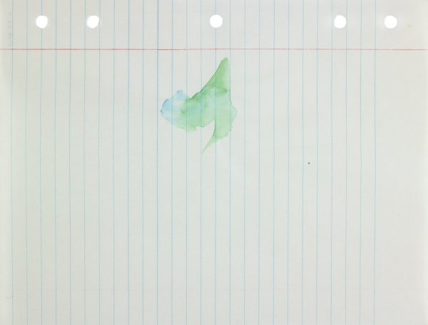 Polychrome (blue and green) in abstract form applied to center of paper
