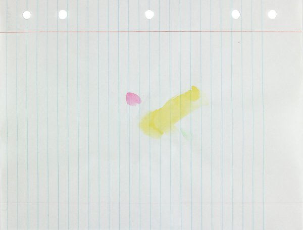 Polychrome (green, yellow, gray, and pink) in abstract form applied to center of paper