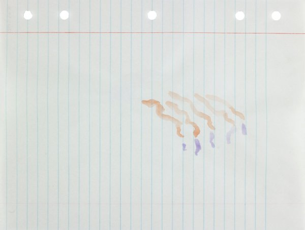 Polychrome (orange and purple) in squiggly abstract form applied to center of paper