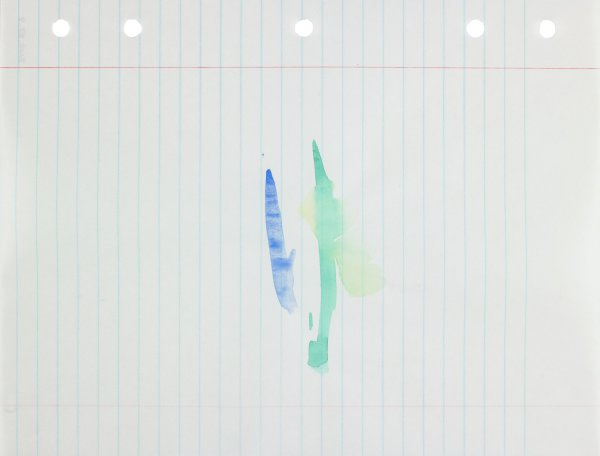 Polychrome (blue, green, and yellow) in abstract form applied to center of paper