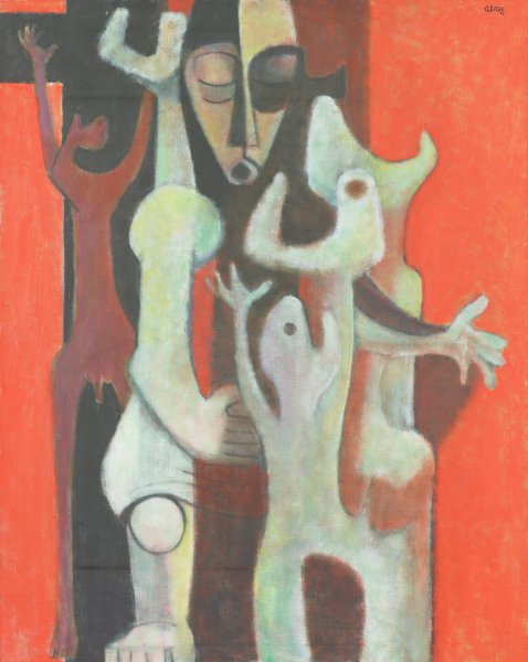 On a red background, abstract figures in white and red stand around an African mask.