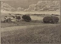 Nittany Wheatfields, Warren Mack, wood engraving