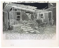 """Press print with caption """"(BM2)BIRMINGHAM, Ala., May 12--NEGRO LEADER'S HOME BOMBED--The home of the Rev. A. D. King is in shambles after it was dynamited in Birmingham, Ala. early today. King is the brother of Rev. Martin Luther King, spiritual leader of the Alabama integration movement. No one was injured in the blast. (AP Wirephoto) (JL11200stf) See AP Wire Story 1963"""""""