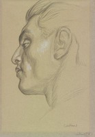 Head of man in profile facing left.