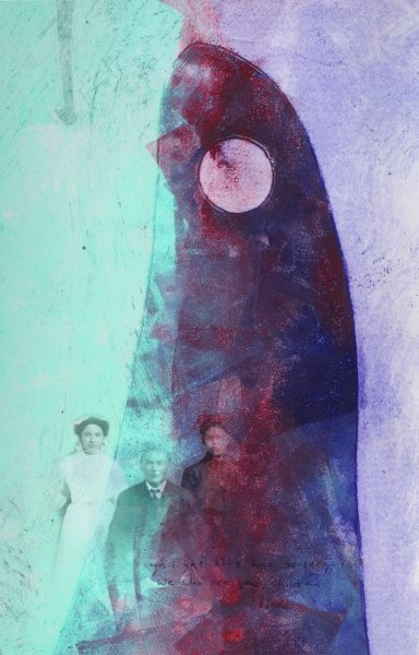 Vertical monoprint in shades of blue and purple depicts black and white photographic images of man with two women superimposed on whale fin with hole at top.