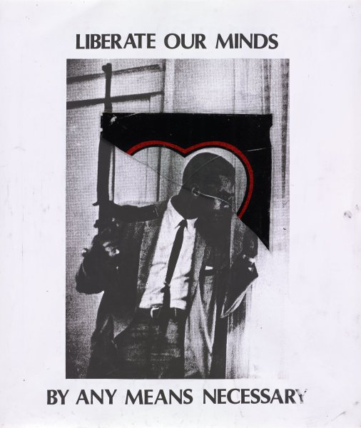 Malcolm X holds a rifle and looks out a curtained window; a piece of glass with the top of a heart shape is placed on the silkscreened image around his head; smudging overall.
