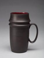 Mug, David Puxley, Wedgwood, black basalt with red glazed interior