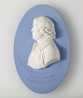 """Oval blue jasper medallion with white relief profile portrait of Josiah Wedgwood, inscribed """"Congres International des Ouviers potiers 26.27.28.aout 1912 Hanley Angleterre"""""""