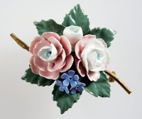 Wedgwood floral bone china brooch with 6 flowers with green leaves on a metal mount