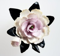 Wedgwood floral bone china brooch with one large white and pink flower on black leaves mounted with a metal pin